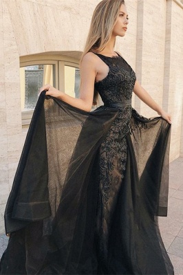 Sexy Sexy Mermaid Sleeveless Evening Gowns | Black Appliques Lace Overskirt Prom Dresses New Arrival_2