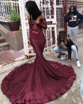 Sexy Burgundy Sequins Mermaid Prom Dresses | Cheap Long Sleeves Evening Dresses On Sale_5