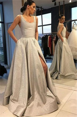 Silver Gorgeous A-line Sleeveless Prom Dresses_1