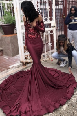 Sexy Burgundy Sequins Mermaid Prom Dresses | Cheap Long Sleeves Evening Dresses On Sale_2