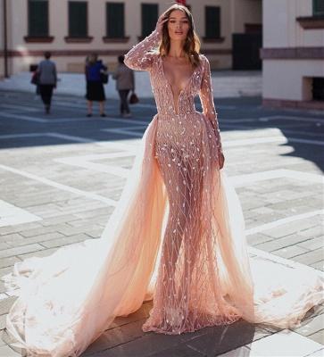 Glamorous Pink Mermaid Deep V-Neck Long Sleeves Crystal Prom Dresses With Detachable Skirt_3
