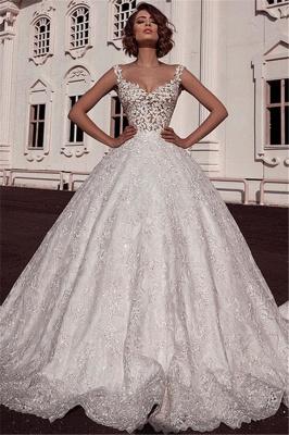 Glamorous Ball Gown Spaghetti Straps Sleeveless Lace Applique Wedding Dresses_1