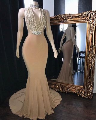 Champagne Crystal Halter Mermaid Long Prom Dresses Cheap | V-Neck Sleeveless Evening Gowns_2