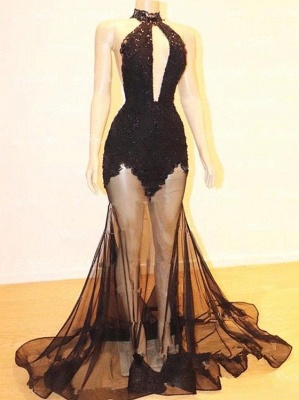 Sexy Halter Lace See Through Floor Length Mermaid Prom Dresses_4