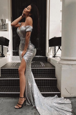 Sexy Off-the-Shoulder Sleeveless Sheath Front Split Prom Dress_2