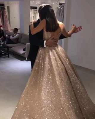 Shiny Gold Ball Gown Evening Dresses   Sexy V-Neck Sequin Prom Dresses_4