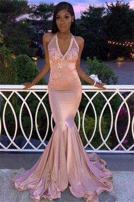 Elegant Pink Halter V-Neck Sleeveless Flower Appliques Prom Dresses_1