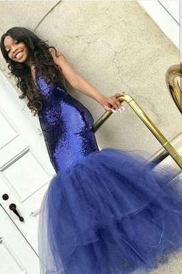 Sexy Navy Blue Mermaid Sequins Prom Dresses | Cheap Tulle Sleeveless V-Neck Evening Dresses_1