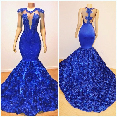 Sexy Royal Blue Flowers Mermaid Prom Dresses | Appliques Sleeveless Sheer Evening Dress BC1059_2