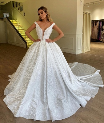 Off The Shoulder Printed Fabric Bridal Gowns | New Arrival Ball Gown Cheap Wedding Dresses_2