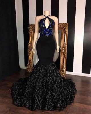 Black Sleeveless Flowers Mermaid Long Prom Dresses Cheap | Elegant Halter Sequins Appliques Evening Gowns_2