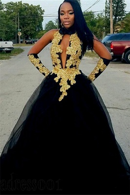 Chic Gold Appliques Ball Gown Prom Dresses   Elegant Black Halter Tulle Evening Gowns_1