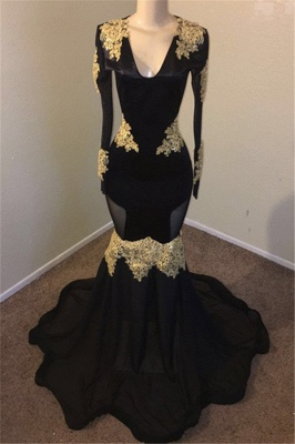 Black Mermaid V-neck Long Sleeve Prom Dresses | Gold Appliques Evening Gowns Cheap_1