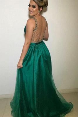 Gormeous V-Neck Sleeveless A-Line Tulle Beading Prom Dresses_2