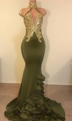 Sheath High Neck Ruffles Gold Beads Sequins Prom Dresses Cheap with Appliques_1