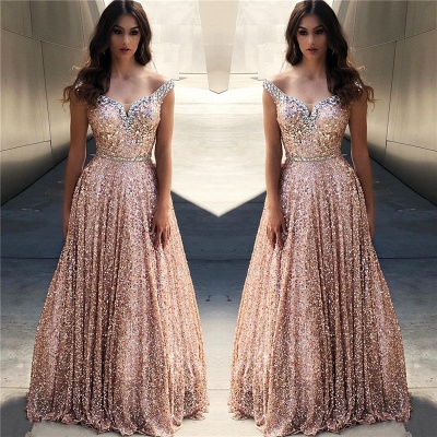 Rose Gold Sequins Evening Dresses |Cheap Off The Shoulder Sexy Bling-bling Prom Dress_2