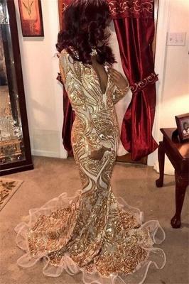 Glamorous Deep V-Neck Long Sleeves Gold Appliques Mermaid Prom Dresses_1