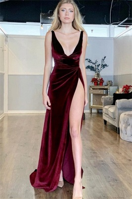 Sexy Burgundy A-Line V-Neck Sleeveless Side Slit Velvet Prom Dresses_1