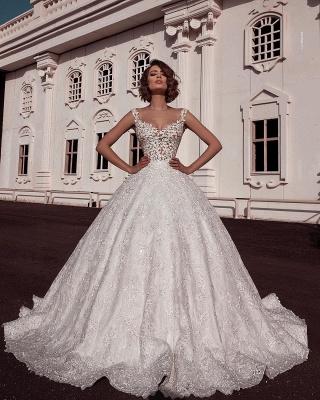 Glamorous Ball Gown Spaghetti Straps Sleeveless Lace Applique Wedding Dresses_2