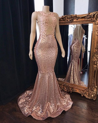 Pink Sequins Appliques Mermaid Long Prom Dresses Cheap   New Arrival Sleeveless Sheer Tulle Evening Gowns_2