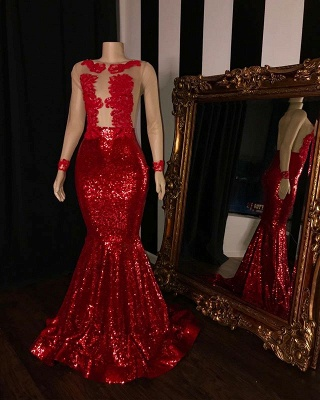 New Arrival Long Sleeve Sequins Mermaid Prom Gowns   Glamorous Sheer Tulle Red Evening Dress_2
