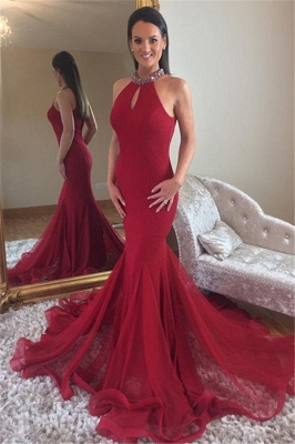 Glamorous Mermaid High Neck Sleeveless Crystal Prom Dresses_1