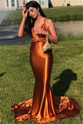 Sexy Mermaid Sleeveless Spaghetti Straps V-neck Prom Dresses_3