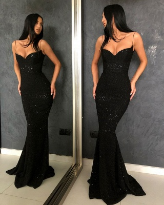 Black Sheath Open Back Spaghetti Straps equins Prom Dresses_3