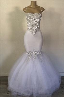 Mermaid Tulle Spaghetti Straps Flowers Appliques White Prom Dresses Cheap_1