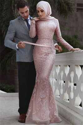 Pink Detachable Long-Sleeves Prom Dresses   Cheap Appliques Lace Sexy Mermaid Evening Gowns_1