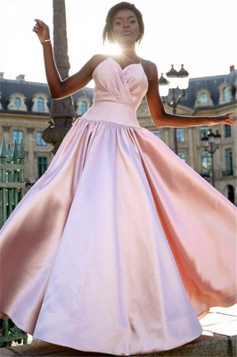 Glamorous Simple Pink Spaghetti-Straps Prom Dresses | New Arrival Sleeveless  Ruffles Cheap Evening Dresses_1