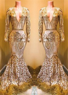 Stunning Sequins Long Sleeves V-neck Mermaid Prom Dresses_3