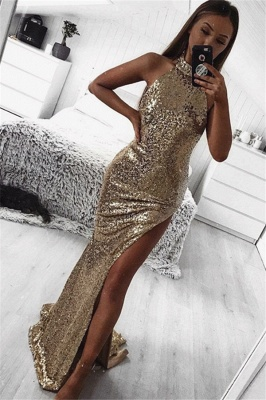 Gold Sheath Halter Sleeveless Side Slit Sequins Sexy Prom Dresses_1