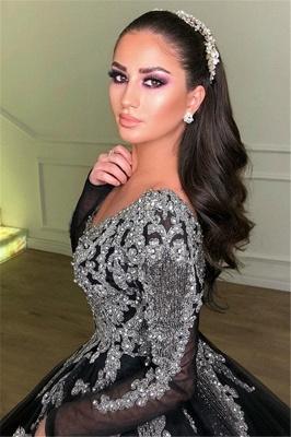 Black Ball Gown Deep V-Neck Long Sleeves Appliques Overskirt Evening Dresses_2