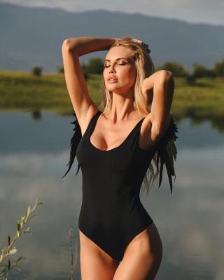 Women One Piece Swimsuit Solid High Cut Swimwear    Wing Bathing Suit_4