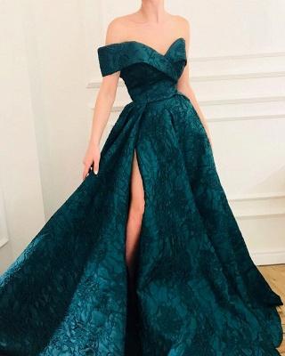 CHeap A-Line Off The Shoulder Lace Evening Dresses_2