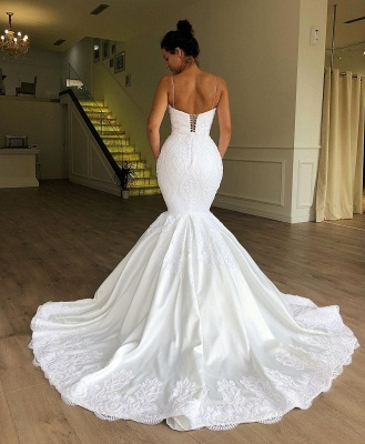 Gorgeous Mermaid Sleeveless Lace Bridal Gowns | Spaghetti Straps Cheap Wedding Dresses Online_2
