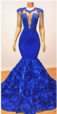 New Arrival Royal Blue Flowers Mermaid Evening Gowns | Glamorous Sleeveless With lace Appliques Long Prom Dresses Cheap_2