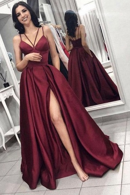 Sexy Sleeveless Front Split Prom Gown | Burgundy Spaghetti-Straps A-Line Evening Dress_1