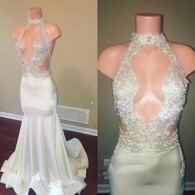 Halter Sleeveless Sheer Appliques High Neck Mermaid Long Prom Dresses Cheap_2