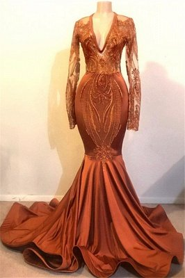 Classic Dust Orange Mermaid V-neck Long Sleeve Prom Dresses Cheap