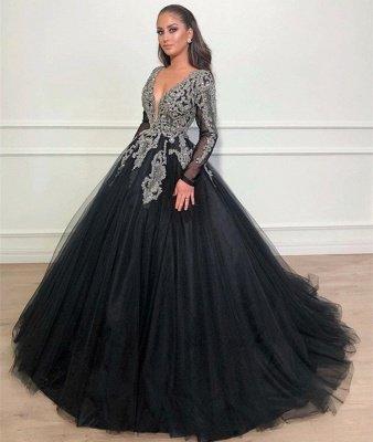 Black Ball Gown Deep V-Neck Long Sleeves Appliques Overskirt Evening Dresses_3