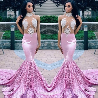 Sexy Pink Mermaid High Neck Sleeveless Sheer Tulle Applique Prom Dresses_3