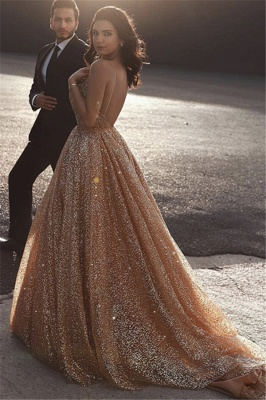 Champagne Elgant A-line Spaghetti Straps Backless Sequins Prom Dresses_2