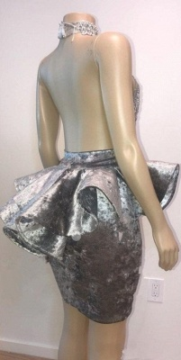 Sexy Backless Silver Velvet Short Prom Dresses   Halter Keyhole Lace Appliques Homecoming Dresses Cheap_5