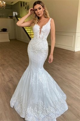 Glamorous Sheer Straps Appliques Tulle  Mermaid Sleeveless Wedding Dresses