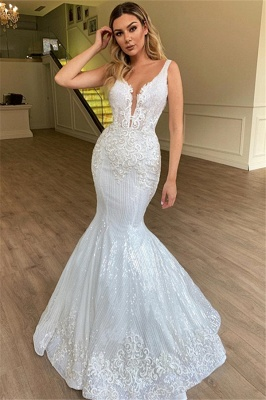 New Arrival Mermaid Sleeveless Cheap Wedding Dresses | Appliques Sparkling Bridal Gowns Online_1
