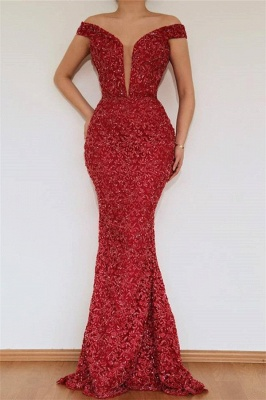 Burgundy Glamorous Mermaid Off The Shoulder Lace Appliques Prom Dress With Detachable Skirt_2