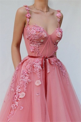 Pink  A-line Spaghetti Tulle Flower Applique Prom Dresses_2