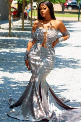 Chic Off The Shoulder Long Sleeves Sexy Mermaid Prom Dresses   New Arrival Sheer Tulle Appliques Evening Gowns_2